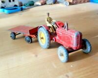 Vintage Dinky Toys 300 Massey Harris Tractor with 25G orange trailer