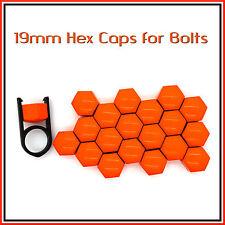 19mm HEX TAPPI PER BULLONI DADI AUTO copre RUOTE IN LEGA TUNING Arancio brillante 20 PC
