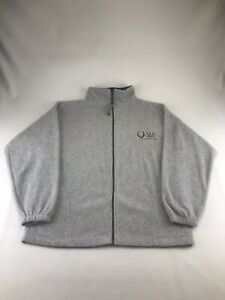 USA Olympic 2008 Mens Medium Full Zip Fleece Beijing Gray Lightweight Jacket