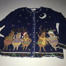Arriviste Ugly Christmas Sweater Medium Beaded Reindeer Cardigan Embellished