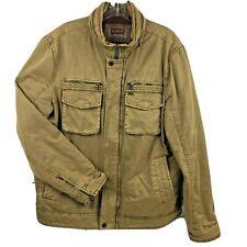 Levis mens M jacket Trucker padded khaki cotton quilt lining logo hardware hood