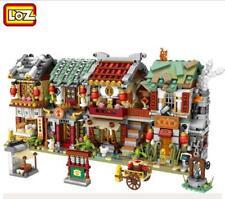 4 Set LOZ Blocks Chinese Mini Street Building Buns shop Tavern Blacksmith Shop