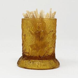 Antique EAPG Amber Monkey's On A Stump Toothpick Holder c. 1880's