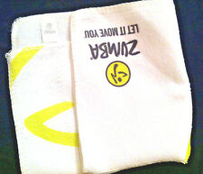 TWO 2 ZUMBA Fitness Let It Move You washcloth small towels NWT lime green white