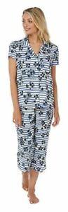 Ladies Cute PJ 3/4 Length Pant and Short Sleeve Shirt Lounge Wear Blue Floral