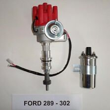 Small Block FORD 260-289-302 RED FEMALE Small Cap HEI Distributor + Chrome Coil