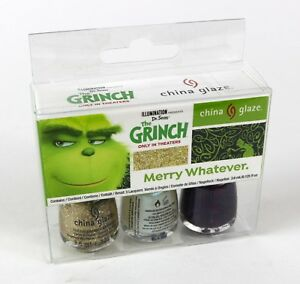 "Dr Seuss The Grinch "" Merry Whatever "" China Glaze Nail Lacquer Polish Kit"