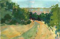 """Russischer Realist Expressionist Öl Leinwand """"Spaziergang"""" 40 x 27 cm"""