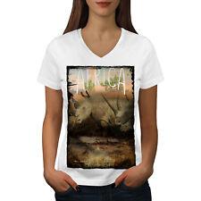 Wellcoda Animal Africa Horn Womens V-Neck T-shirt, Rhino Graphic Design Tee