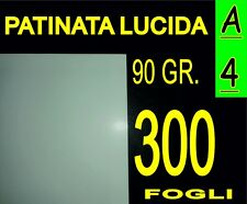 300 FOGLI CARTA PATINATA LUCIDA STAMPANTI LASER VOLANTINI 90g A4