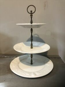 """VINTAGE RED-CLIFF Ironstone WHITE 3 Tier Tray Server, 14"""""""