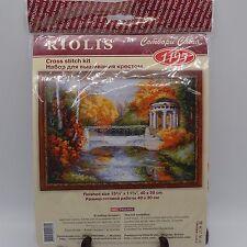 Cross Stitch Kit Riolis 1195 Garden Gazebo Bridge Pond Autumn Fall Russian NIP