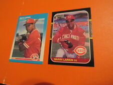 Barry Larkin rookie 1987 donruss FLEER Cincinnati Reds 2 CARD LOT