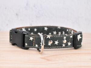 Star patterned Adjustable Dog Collar - Pet Collar / stars / moss green