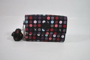 New With Tag Kipling PIXI Print Medium Trifold Wallet AC3739 - K Multi Dots Red