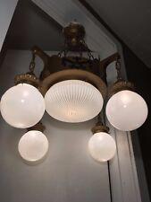 Antique Brass Mission Chandelier Inverted Arts & Crafts Dome 5 Light Fixture Vtg