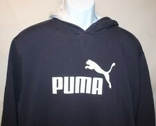 Puma Navy Long Sleeve Hoodie Sweatshirt White Leaping Cat Mens Large L