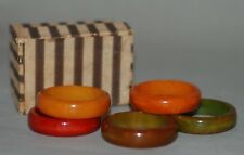 VINTAGE BAKELITE NAPKIN RINGS SET OF SIX MULTI COLORED IN ORIGINAL CARDBOARD BOX