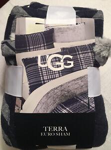 UGG Terra European Pillow Sham in Navy Plaid, 100% Cotton, Soft