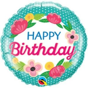Happy Birthday 18Inch Small Polka Dot Floral Foil Helium Balloon Party Decor