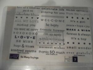 Stampin Up Retired SO MANY SAYINGS Brand New Unmounted Wood/Rubber Stamps