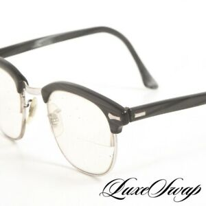 Vintage Shuron Made in USA Black Grey Horn Effect Silver Metal 6 Nerdy Glasses