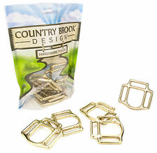 6 - Country Brook Design® 1 Inch Solid Brass 3-Sided Horse Halter Squares