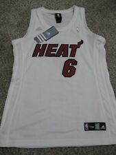 "Lebron James Miami Heat Womens Large ""King James"" White Adidas Replica Jersey"