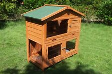 Double Story Rabbit Chook Guinea Pig Ferret Hutch House Cage Coop * ED020