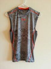 Under Armour Heat Gear gray sleeveless shirt with orange trim - mens medium comp