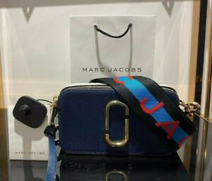 MARC JACOBS Snapshot Logo Strap NEW BLUE SEA MULTI Small Camera Bag 100% AUTHENT