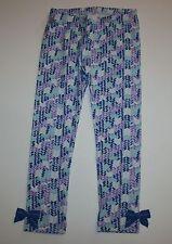 New Gymboree Girls Blue Purple Chevron Print Leggings Pants Bow Hem 2T 4T 5T NWT
