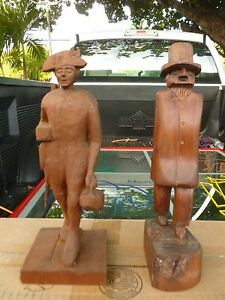 2  AMERICAN WHIMSICAL LATE 19TH C OR EARLY 20TH C FOLK ART WOOD CARVINGS