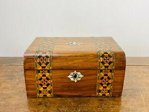 Antique Victorian Tunbridge Ware Marquetry Inlaid Walnut Jewellery Sewing Box