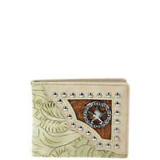 BEIGE WESTERN TOOLED STUDDED STAR MENS COUNTRY WESTERN SHORT BIFOLD WALLET NEW