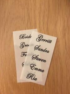 Clear Stickers Name Labels Wedding Place Cards Favours 7.5cm wide by 2cm height