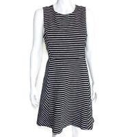J. CREW Panaled Striped Black White Cotton A-Line Dress Back Zip sz 12 /3900
