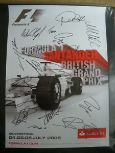 British GP 2008 poster signed by full F1 grid. with COA