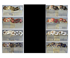 Cloisonne Hair Combs 2 Pcs Sets 4 Styles Red, White or Blue CHOICE NWT