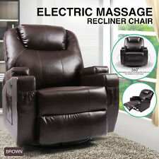 New Electric Leather Recliner Massage Sofa Chair Heated Rocker 360 Swivel Brown