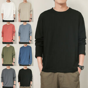 Mens Plain Round Neck Long Sleeve T-shirt Casual Blouse Muscle Tee Tops Tunic