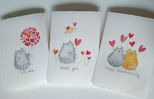 biglietti auguri dipinti a mano ad acquarello gatto gatti
