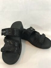 New Vionic Orthaheel Pacific Rio Platform Black Reptile 3 Strap Slides Sandals 9