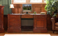 Baumhaus Mahogany La Roque Twin Pedestal Computer Desk with Drawers