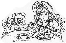 Unmounted Rubber Stamps, Whimsical, Doll & Bear, Tea Party, Dolls, Rubber Stamps