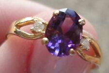 14KT GOLD AMETHYST & DIAMOND RING February BIRTHSTONE Sx 6.5