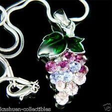 w Swarovski Crystal ~Purple JUICY GRAPE~ FRUIT charm Necklace Vegan Jewelry Gift