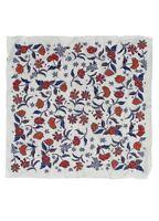 Seidenschal 50x50cm ✿ Flowers ✿ Grau Blau Rot Seide Tuch Halstuch Scarf Foulard