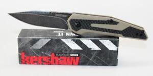 Kershaw Fraxion Knife CF Tan G-10 Handle Black Stonewash Plain Edge 1160TANBW