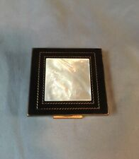 """Vintage 1940's-50's """"Shields"""" Mother of Pearl & Black Enamel Cosmetic Compact"""